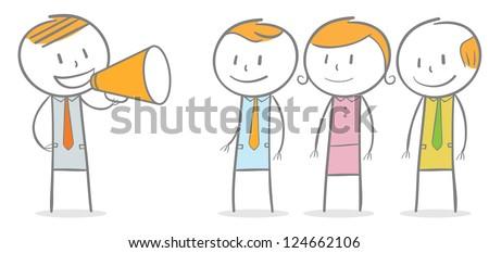 Doodle stick figure: Businessman talking through megaphone - stock vector