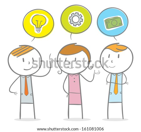 Doodle stick figure:group of business person with their own minds - stock vector