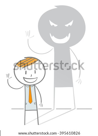 Doodle stick figure in an evil shadow waving hand, Wolf in sheep's clothing metaphor - stock vector