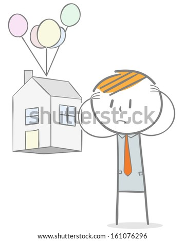 Doodle stick figure: Lost home concept. Sad Businessman seeing his house taken away. - stock vector