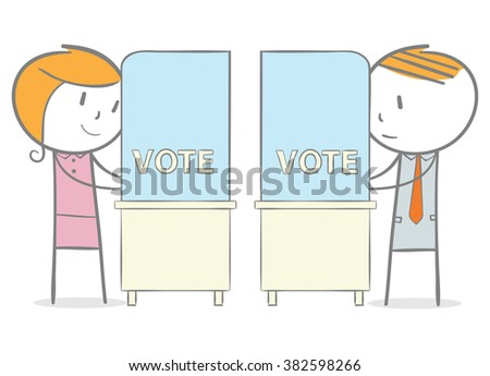 Doodle stick figure: Man and woman in a voting booth - stock vector