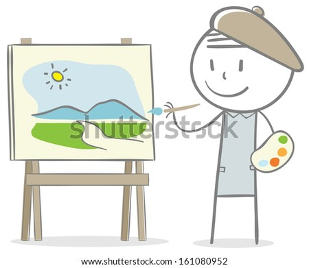 Doodle stick figure: Man painting on a canvas - stock vector
