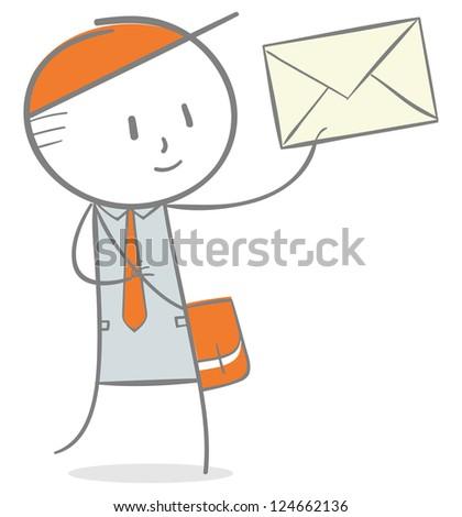Doodle stick figure: Postman delivering a mail. - stock vector