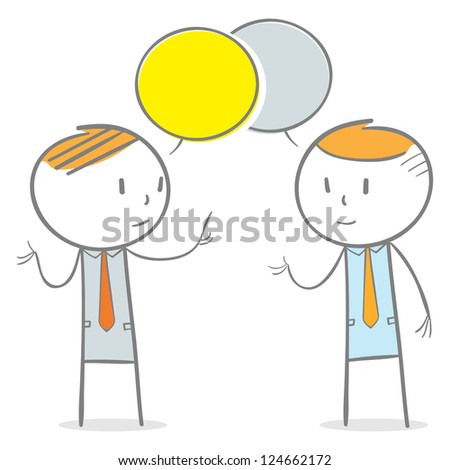 Doodle stick figure: Two businessmen in conversation - stock vector