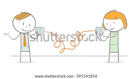 Doodle stick figures communicating to each other using tin can phone - stock vector