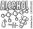 Doodle style alcohol molecule illustration in vector format.  Includes text and molecular model. - stock vector