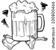 Doodle style alcoholism or hangover illustration in vector format - stock vector