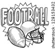 Doodle style American football illustration illustration in vector format. Includes text, helmet and ball. - stock vector