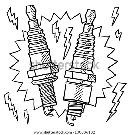Doodle style automotive spark plug illustration in vector format - stock vector