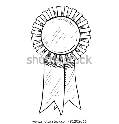 Doodle style award ribbon illustration in vector format suitable for web, print, or advertising use. - stock vector