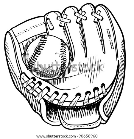 Doodle style baseball and glove in vector format - stock vector