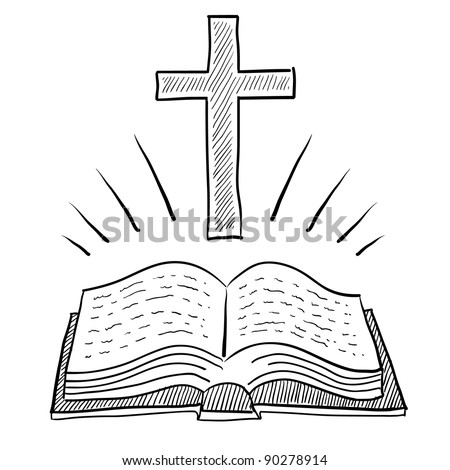 Doodle style bible or book with christian cross vector illustration - stock vector