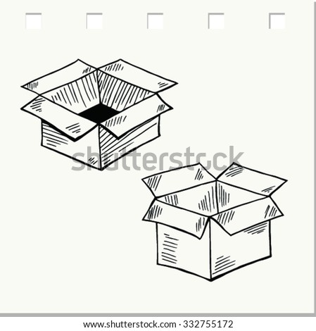 Doodle style box, package, vector illustration - stock vector