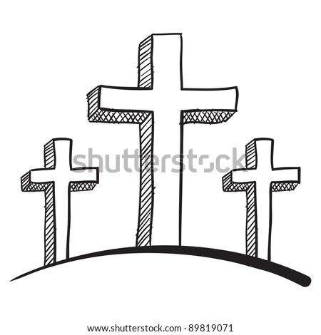 Doodle style calvary crucifix vector illustration - stock vector