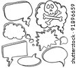 Doodle style cartoon conversation, speech, or thought bubbles in vector illustration format - stock photo