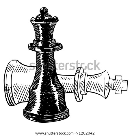 Doodle style chess pieces or strategy icon illustration in vector format suitable for web, print, or advertising use. Includes king and queen. - stock vector