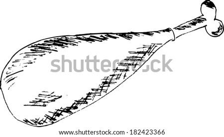 doodle style, chicken leg  - stock vector