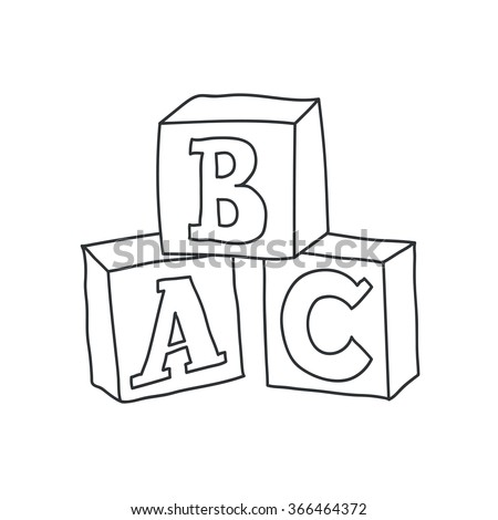 Doodle style children's block toys with alphabet on them in vector format - stock vector