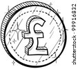 Doodle style coin with currency symbol - British Pounds Sterling - stock vector