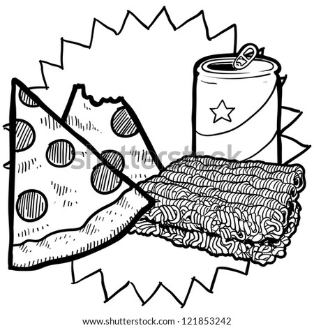 Doodle style college food illustration in vector format.  Includes beer or soda can, ramen noodles, and pizza. - stock vector