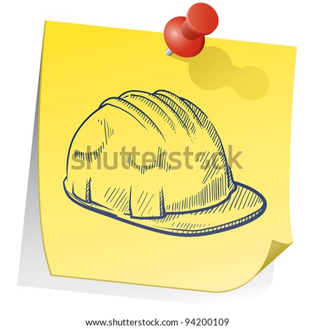 Doodle style construction worker hardhat on yellow stick note sketch in vector format - stock vector