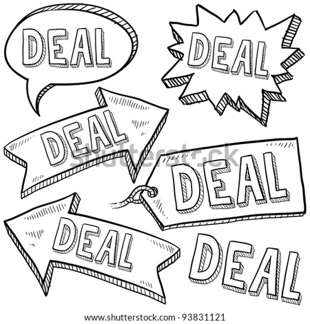 Doodle style deal tags, labels, and arrows sketch in vector format - stock vector