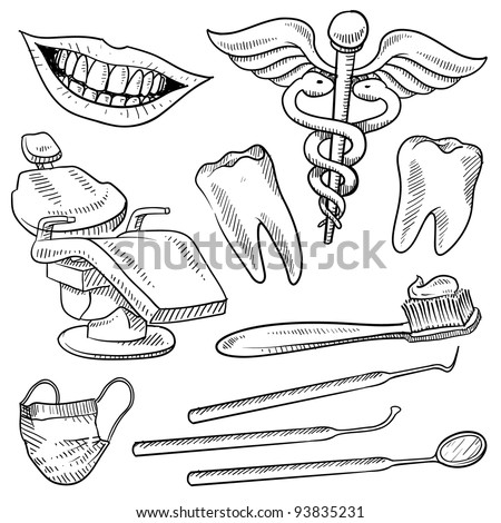 Doodle style dentist equipment sketch in vector format.  Set includes dental chair, picks, mirrors, caduceus, toothbrush, smile, and teeth - stock vector