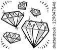Doodle style diamond gem variety illustration in vector format. - stock vector