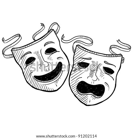 Doodle style drama or theater masks illustration in vector format suitable for web, print, or advertising use. - stock vector