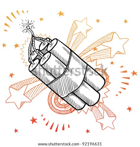Doodle style dynamite explosive bundle illustration in vector format with retro 1970s pop background