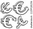 Doodle style Euro international currency symbol with arrows up and down to indicate inflation, deflation, evaluation, or devaluation as economic indicators. Vector format. - stock vector