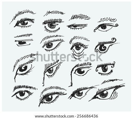 Doodle style eyes sketch in vector format - includes a variety of eyes with lashes, shapes, and makeup - stock vector
