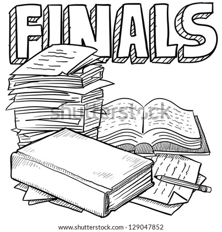 Doodle style final exams illustration in vector format.  Includes title text, pile of papers, and books. - stock vector