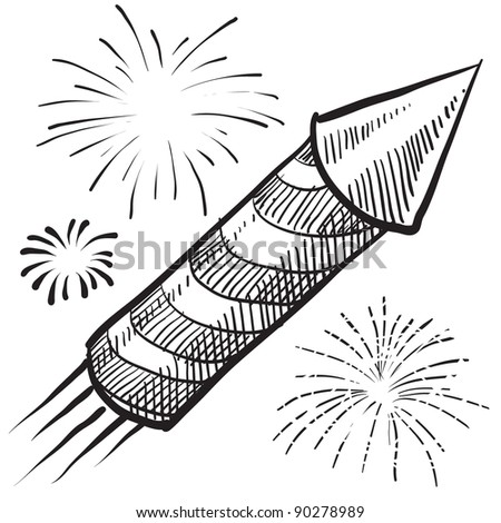 Doodle style fireworks or New Year vector illustration - stock vector