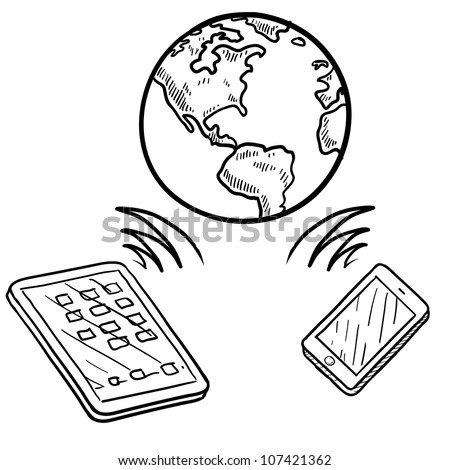 Doodle style global cloud computing illustration showing data being sent and received globally on smartphones, tablets, and mobile devices