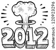 Doodle style Goodbye 2012 New Year's Eve sketch in vector format.  Includes 2012 text and cartoon mushroom cloud. - stock vector