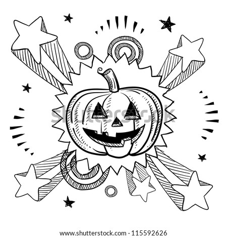 doodle style happy halloween jackolantern illustration