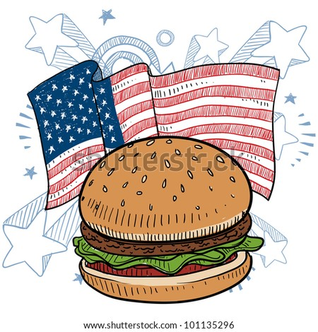 Doodle style hamburger with bun and condiments in front of a colorful American flag sketch in vector format - stock vector