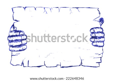 doodle style, Hand Holding Blank Paper   - stock vector