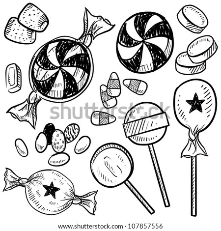 Doodle style hard candy set sketch in vector format. Includes lollipops, mints, wrapped candy, butterscotch, candy corn, gum drops, and jelly beans. - stock vector