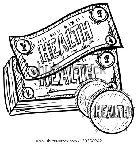 Doodle style health care costs illustration in vector format.  Includes text and currency. - stock vector