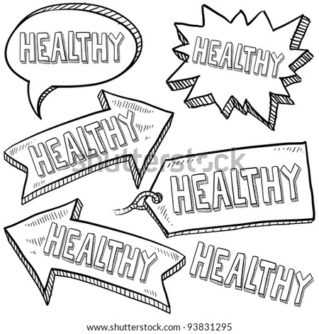 Doodle style healthy tags, arrows, and labels sketch in vector format - stock vector