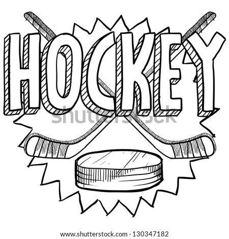 Doodle style hockey illustration in vector format. Includes text, hockey sticks, and puck.
