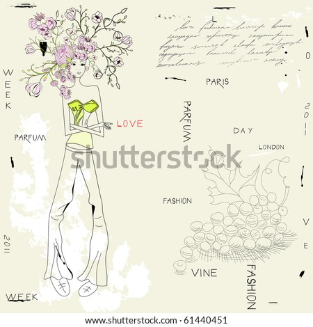Doodle style illustration with young woman - stock vector