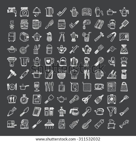 doodle style kitchen icons - stock vector