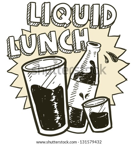 Doodle style liquid lunch alcohol drinking sketch in vector format.  Includes pint glass, text, shot glass, and beer bottle.