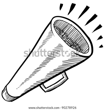 Doodle style megaphone, announcement, or contact vector illustration