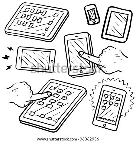Doodle style mobile devices and smartphones in vector format - stock vector