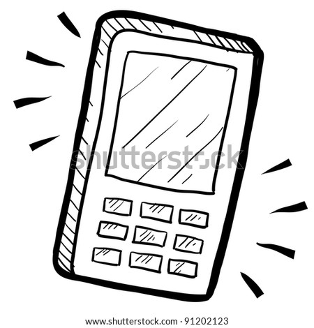 Doodle style mobile phone or calculator illustration in vector format suitable for web, print, or advertising use.