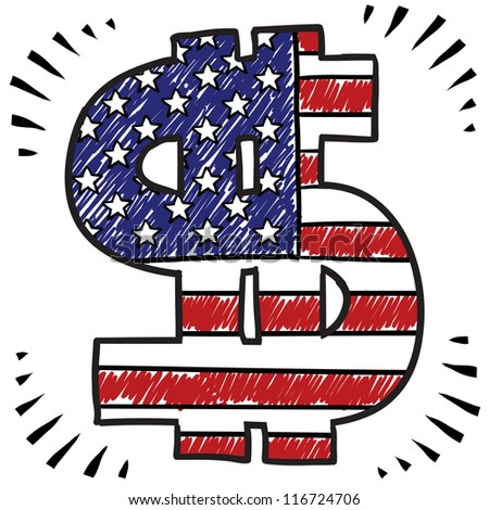 Doodle style money influences American politics and elections overlaid with the American Flag sketch in vector format - stock vector